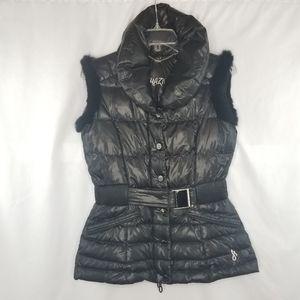 Amazing Down & Rabbit Fur Puffer Vest Detailed